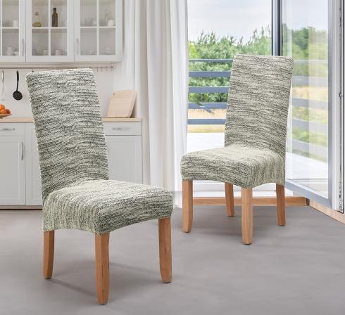 Krémové elastické napínacie poťahy na stoličky s operadlom (EP4) – JIMI Textil