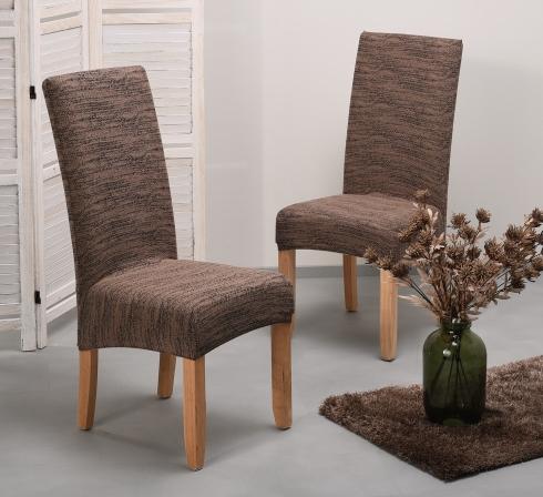 Hnedé elastické napínacie poťahy na stoličky s operadlom (EP4) – JIMI Textil