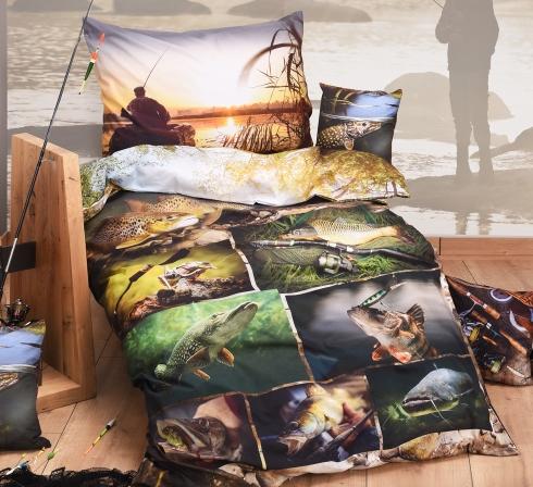 Obrazová posteľná súprava s motívom RYBÁRČENIE