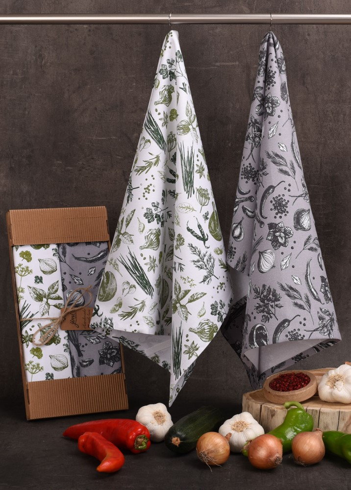 Savé bavlnené utierky UT60 - Motiv zelenina / bylinky - JIMI Textil