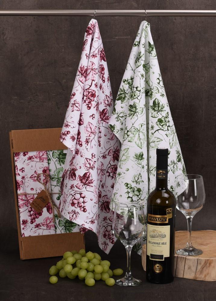 Bavlnené utierky UT59 s motívom víno - JIMI Textil