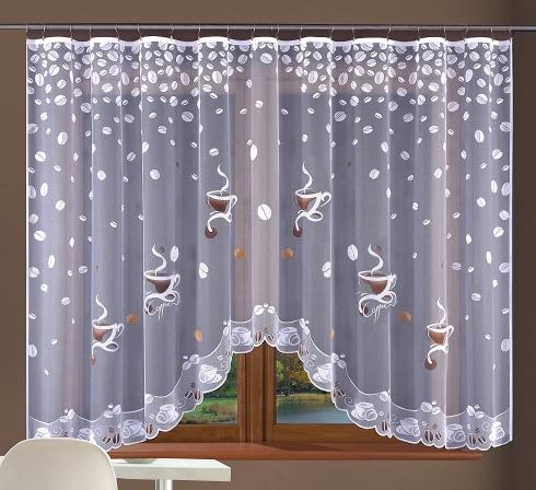 Hotová oblúková záclona žakárového typu s farebnými motívmi