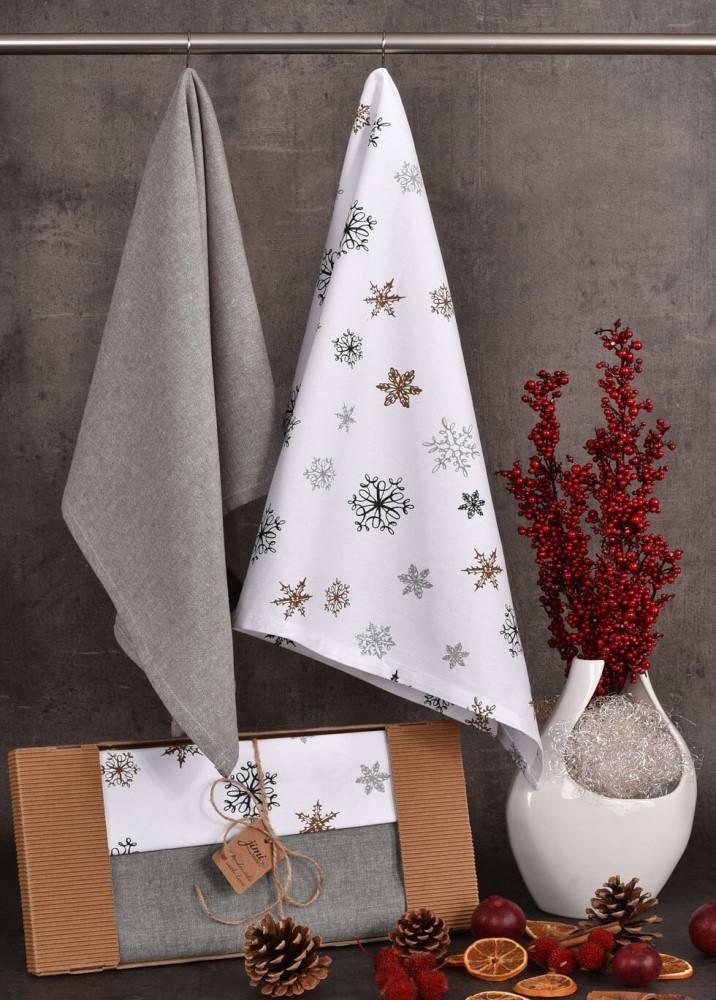 Bavlnené utierky so zimným motívom snehových vločiek (UT42) - JIMI Textil