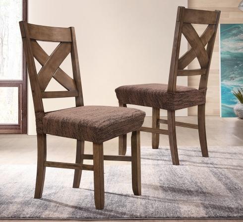 Hnedé elastické napínacie poťahy na sedadlá stoličiek (EP3) - JIMI Textil