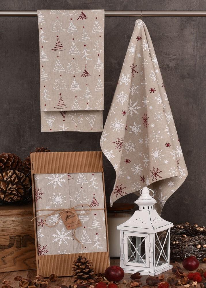 Vianočný utierky UT41 - Snehové vločky a vianočné stromčeky - JIMI Textil