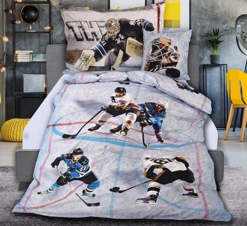 Obrazová posteľná súprava s motívom HOKEJ