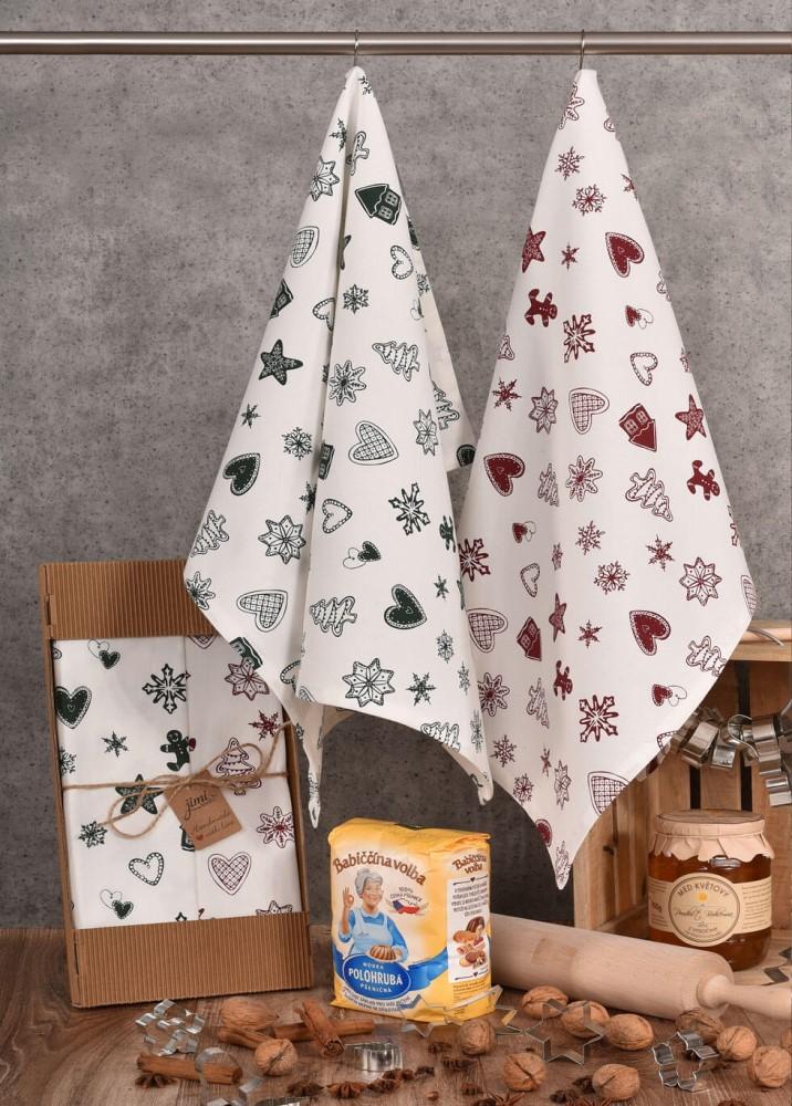 Vianočné bavlnené utierky a motívom perníčkov (UT43) - JIMI Textil