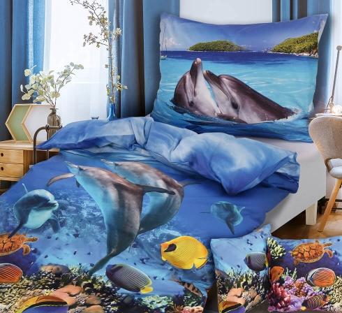 Obrazová posteľná súprava s motívom DELFÍNY