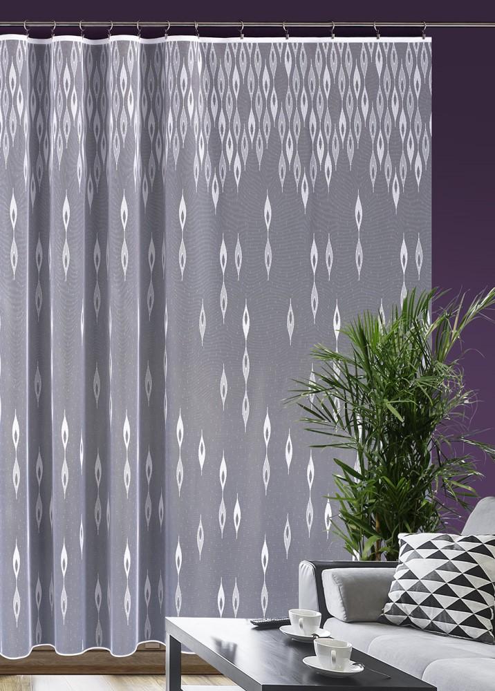 Metrážová žakárová záclona M95 - Padající kapky / déšť