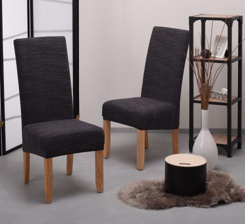 Tmavosivé elastické napínacie poťahy na stoličky s operadlom (EP4) – JIMI Textil