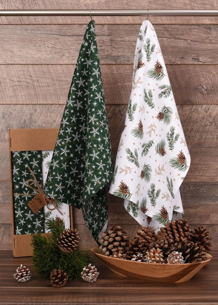 Savé bavlnené utierky UT55 - Zimný motív snehové vločky / ihličie sa šiškami - JIMI Textil